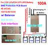 12V 14.8V 4S 100A BMS PCB PCM for LiFePO4 18650 26650 LFP Battery with BALANCE