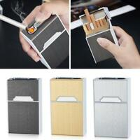 BIN 20 sticks Automatic Cigarette Case With Inbuilt Windproof Lighter Box