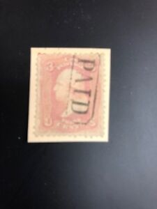 64 3cent Pink On Piece Used Paid Cancel  Catalogues $600
