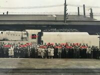 NSW Railways photo of iconic engine 3806 & staff at Eveleigh c1940s Oak frame.