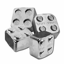 4 - 1/2 oz. 999 Fine Silver Building Block Bars (2X2) - Connect Together - New