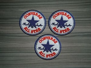 3 pcs Size 2.8 Inch Logo CONVERSE ALL STAR  Embroidered  Iron or Sew on Patch