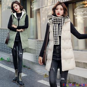 2021 Winter Women Down cotton Vest Jacket Sleeveless Hooded Coat Long Waistcoat