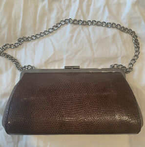 Coach Brown Alligator Limited Edition Clutch With Chain EUC