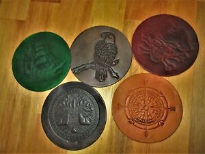 6 Leather Cup Coaster, Glass Matt, Table Protector. 6 Coasters