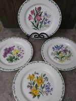 """Thomson Pottery Floral Garden Set Of 4 Dinner Plates 4 Different Designs 10.5"""""""