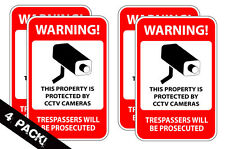 Home Security Camera Burglar Defense CCTV Warning Decal Window Sticker 4 PACK