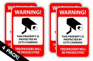 Home Security Camera Burglar Defense CCTV Warning Decal Window Sticker 4 PACK