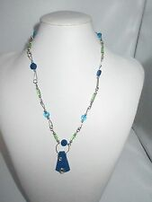 Abstract Statement Necklace Silver Tone  Blue Green Beaded Silver Tone Linked