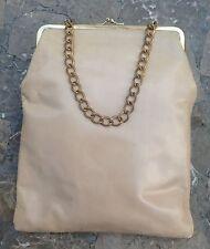 Vintage. 1980's. Genuine Soft Leather, Woman's Designer Baguette. Beige.