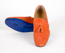 New SUTOR MANTELLASSI Orange Suede Leather Tassel Loafers Shoes Size 9 US $795