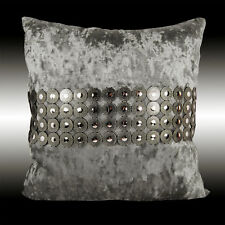 SHINY CIRCLES SILVER GREY THICK VELVET DECO THROW PILLOW CASE CUSHION COVER 17""