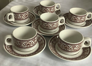 Vintage 6 Royal Doulton Anthemion Hotel Ware Espresso coffee Cup,& Saucer