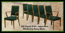 ( 6 ) French 1940's Upholstered Mid-Century Dining Chairs