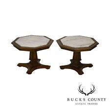 Weiman Vintage Pair Octagonal Marble Top Low Pedestal Side Tables