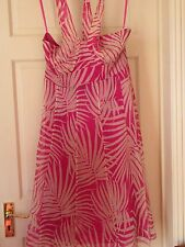 Monsoon ~ Long Pink & White Silk Sera Party Dress Size 14