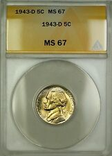1943-D Wartime Silver Jefferson Nickel 5c Coin ANACS MS-67 Lightly Toned (B)
