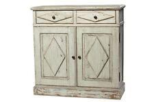 "46"" Umberto Cabinet Reclaimed Wood Antique White Finish Two Drawer Two Door"