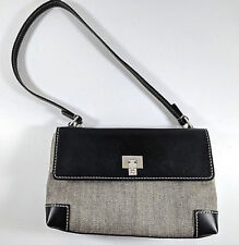 Lambertson Truex Mini Handbag Taupe Tweed Canvas Black Leather Made In Italy
