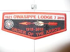 Owasippe Lodge 7, 1915- 2015,100th Ann OA Flap,Centennial,110,175,246,Chicago,IL