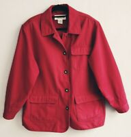 Vtg Talbots Red Canvas Barn Coat Womens Large Field Jacket Duck Cotton Button Up
