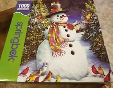 2004 Authentic Hallmark Springbok 1000 Jigsaw Puzzle Snowman Feathered Friends
