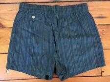 Vtg 50s Welgrume Sportswear Blue Green Striped Nylon Swim Trunks Shorts Mens 30