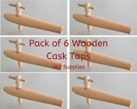"Pack of 6 Wooden Barrel Taps / 7.5"" Cask Ale Taps / Hardwood Spigot, Beer Event"