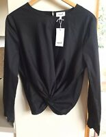 BNWT Seed Heritage Black Knot Front Long Sleeve Shirt Blouse Top 14 New