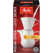 640476 - Melitta 6 Cup Pour-Over Coffee Brewer, Porcelain Brewing Cone & Carafe