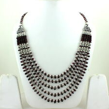 NATURAL GARNET GEMSTONE BEADED BEAUTIFUL NECKLACE 78 GRAMS