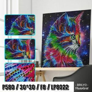 5d diamond painting colorful cat Kitten abstract diy 5d crystal diamond painting