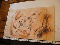 Vintage art by ROBERT MOIR: in pen--CASTRO ORPHEUS-- naked woman hosting man up