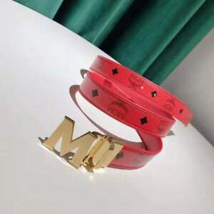 Men's MCM Red  double-sided Visetos belt with gold buckle