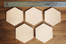 5 Plain Hexagonal Leather Coasters Vegetable Tanned thick Cowhide Crafts 3.5""