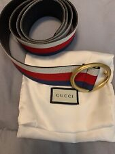 GUCCI Vintage Web Stripe Belt  Blue Red Canvas Italy Authentic