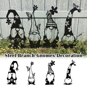 Steel Branch Gnomes Decoration Cute Standing Silhouette for Home Garden Yard