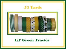 "7//8/"" GREEN TRACTOR OOH SUNNY DAY FARMING GROSGRAIN RIBBON U PICK LENGTH"