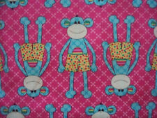 SOCK MONKEY SHORTS PINKS BLUES COTTON FABRIC FQ OOP