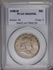 1948-D Franklin Half Toned PCGS MS65 Full Bell Lines !!