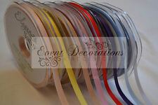 3mm X 50m Eleganza Red Double Side Satin Ribbon Wedding Favour Crafts White