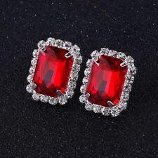 Silver Plated Red Crystal Rhinestone Oblong Stud Earrings Women Wedding Jewelry