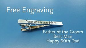PERSONALISED TIE CLIP -  ENGRAVED FREE - BEST MAN WEDDING USHER GROOM FATHER