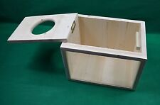 Deluxe solid pine Chinchilla Sand/Dust Bath with Framed Window & hinged lid