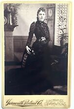 ANTIQUE CABINET CARD PHOTOGRAPH ~ BEAUTY IN HAUNTING BLACK DRESS ~ YARMOUTH N.S.