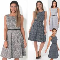Womens Vintage Retro 50s Ditsy Midi Dress Floral Pin Up Skater Belt Party Office