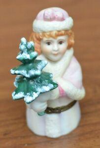 "Ceramic Porcelain~Christmas Girl Tree~hinged candy dispenser~Dept 56~4"" figurine"