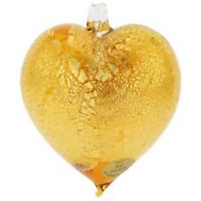 GlassOfVenice Murano Glass Heart Christmas Ornament - Golden Brown