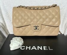 AUTHENTIC CHANEL JUMBO BEIGE CAVIAR DOUBLE FLAP SHOULDER CROSSBODY BAG SHW