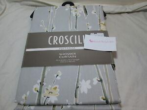 "Croscill NATASHA Floral Shower Curtain 72""x72"" Grey, White, Beige, Gold, Green"